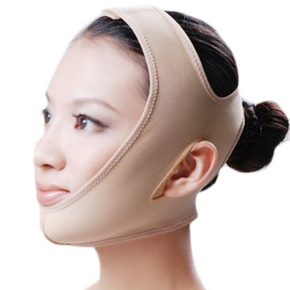 Thin face mask slimming mask face care skin lift chin face v-line lifting face lift bandage slim mask anti-sag beauty facemask protective outdoor war game military skull half face shield mask black