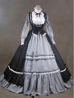 18th Century Fashion Black Gray Short Shipping Ruffles Rococo Georgian Period Dress