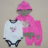 3 Pcs Carters Baby Girl Clothing Set Coat Bodysuit Pants Children Cloth Suit Baby Boy Girls