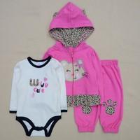 3 Pcs Carters Baby Girl Clothing Set Coat Bodysuit Pants Children Cloth Suit Baby Boy Girls