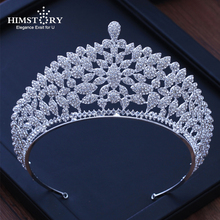 HIMSTORY Crystal Wedding Crown Queen Headband Rhinestone Big Bridal Tiara Bridal Hair Accessories Head Diadem Jewelry недорого