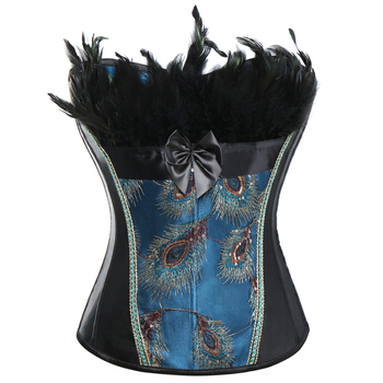 Women Steampunk Gothic Waist Trainer Corset Peacock Blue Lace up Burlesque 1