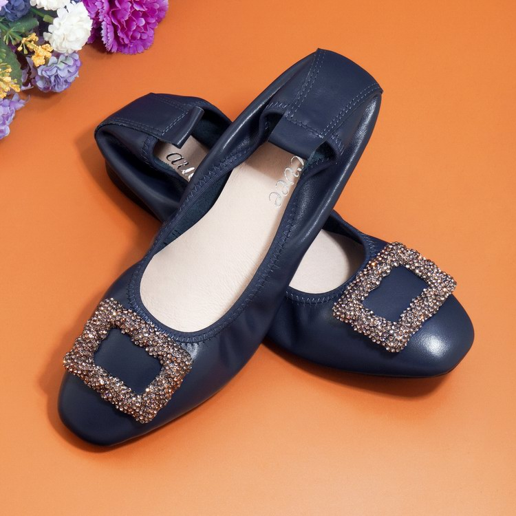 Gold Silver Square Head Square Buckle Metal Decoration Pregnant Women Shoes Fashion Genuine Leather Shallow Mouth