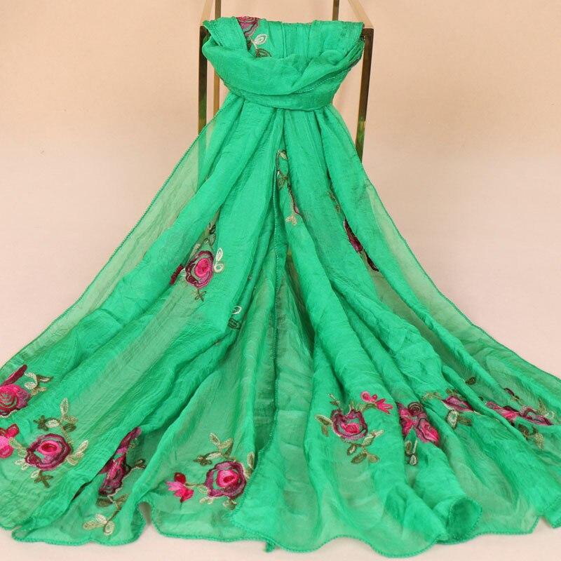 New Summer Chiffon   Scarves   Hijab Women Embroidered Silk   Scarf   Retro Female Beach   Scarf     Wrap   Shawl