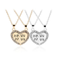 Trendy Charm Female Gold/Silver Alloy Inlaid Rhinestones Pendant Necklace Big or Little Sister Stitching Heart Shape Necklace(China)
