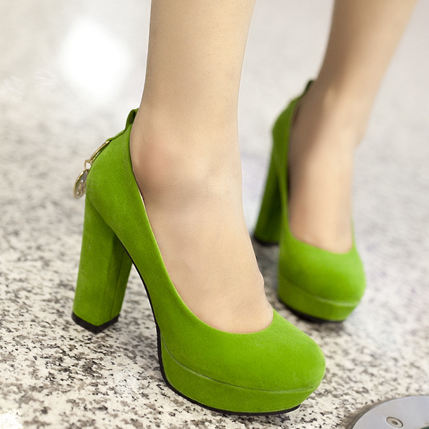 ФОТО 2013 spring and autumn women's candy color flock shoes thick heel elegant high-heeled Green/Blue casual shoes Z217