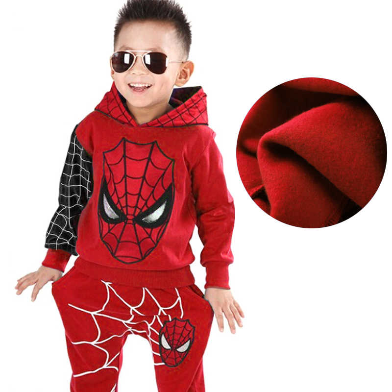 Children Clothing 2019 Autumn Winter Add woolupset Toddler Boys Clothes Sets Spiderman Costume Kids Clothes For Boys Sport Suit