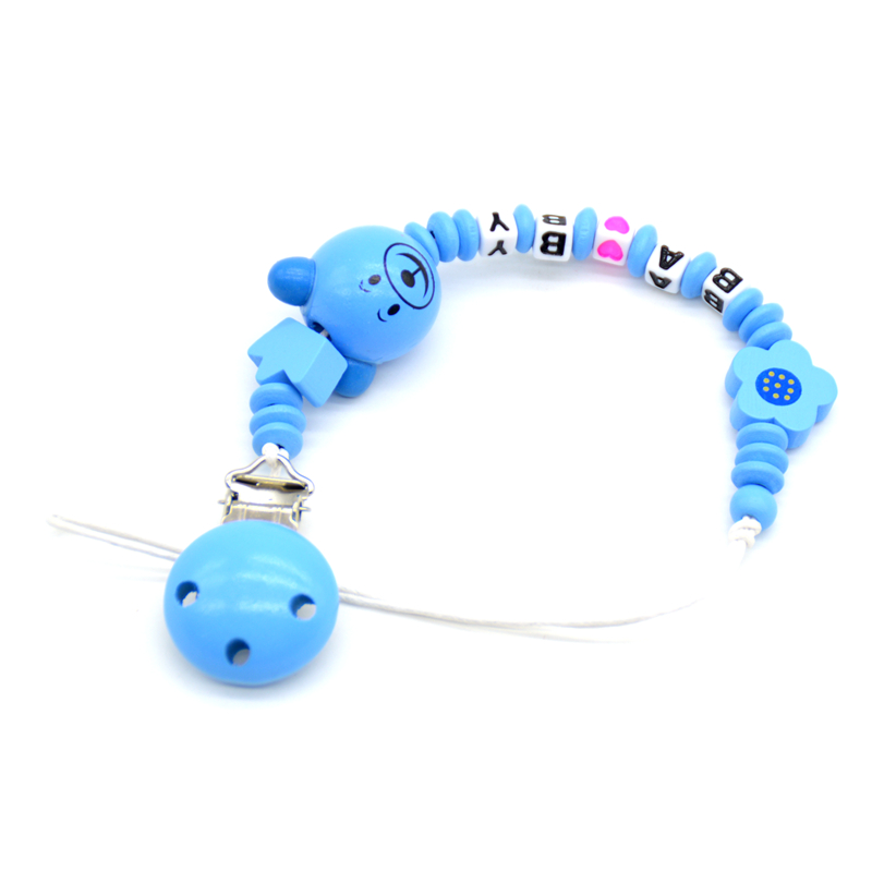 Personalized Name Wood Blue Pacifier Clip Chain Soother Nipple Holder Newborn Dummy Pacifier Feeding Teether Chupetero Clip