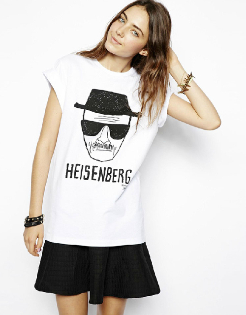 New 2014 Summer Shirt Women Short Sleeve O Neck T Shirt Tops Old Man Letter Heisenberg Print Tops Casual Women Clothes Plus Size