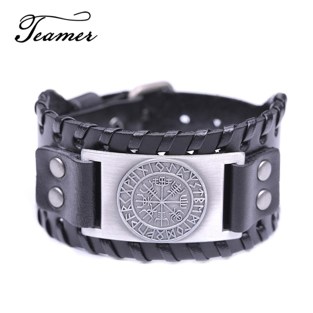 Teamer Wide Leather Bracelets Vintage Nordic Viking Rune Vegvisir Compass Charm Cuff Bracelet Men Women Gift Fashion Jewelry Браслет