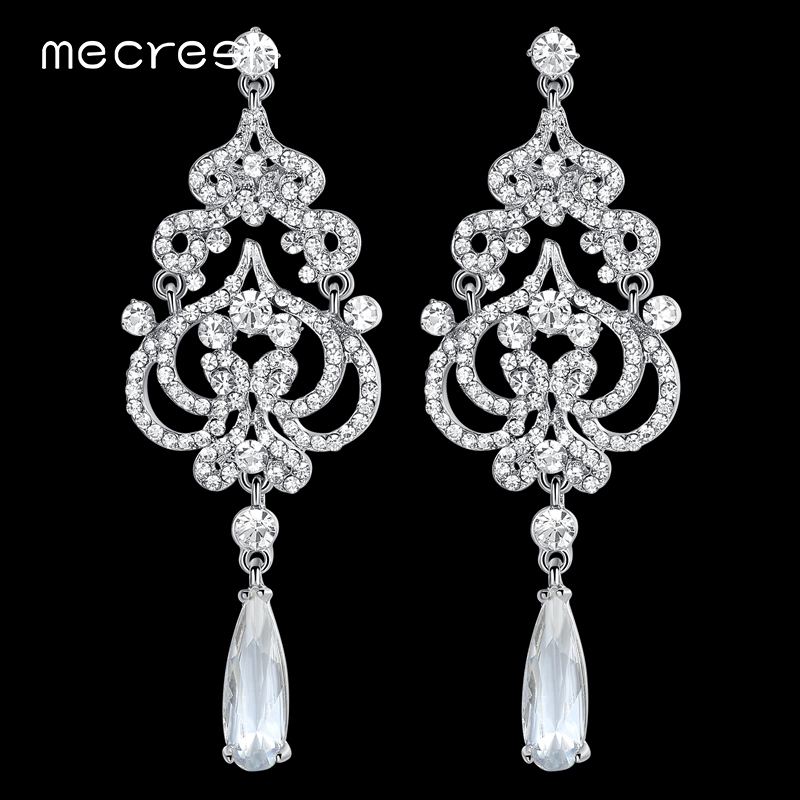 Mecresh Big Crystal Chandelier Wedding Earrings for Bride Imitated CZ Heart Statement Hanging Earrings Fashion Jewelry EH620 mecresh imitated pearl crystal long earrings for women geometric vintage drop earrings 2018 wedding jewelry christmas gift eh618