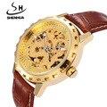 SHENHUA  New Hot Sale Skeleton Hollow Fashion Mechanical Self Wind Men Luxury Male Leather Strap Wrist Watch CLASSIC GOLD