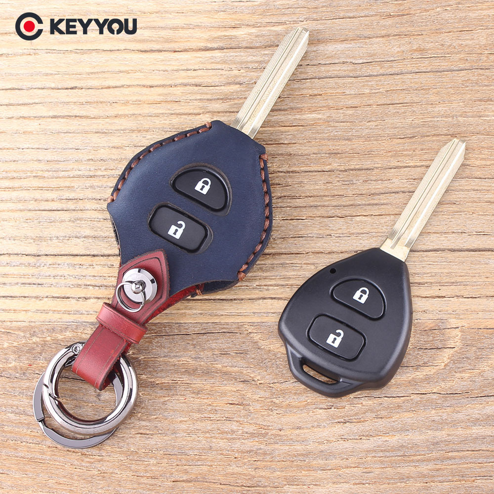 цена на KEYYOU 2 Button Remote Fob Leather Car Key Case For TOYOTA Rav4 Corolla Hilux Yaris Avalon Echo Prado Key Shell Cover