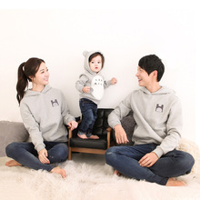 Parent-child wear plus velvet sweater family three or four family-friendly winter clothing chinchillas warm suit