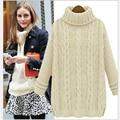2016 Mujeres Suéter de Invierno Nuevo Estilo Europeo Retro Largo Suéter de Las Señoras Suéter de punto Jerseys de Cuello Alto Flojo