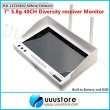 RX-LCD5802 Tout-en-un 7 pouce Blanc Édition 40ch Diversité 5.8 GHz FPV Sans Fil Moniteur Diversité avec Construit dans La Batterie et OSD