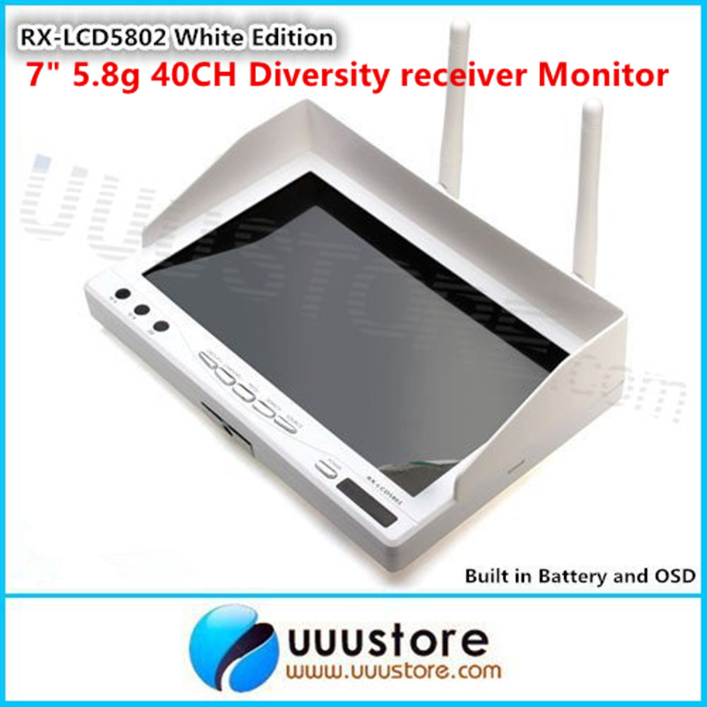 RX-LCD5802 All-in-one 7 inch White Edition 40ch Diversity 5.8GHz FPV Wireless Diversity Monitor with Built in Battery and OSD