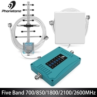 Cellular Signal Booster 2G 3G 4G Amplifier LTE 700/850/1800/2100/2600MHz Mobile Phone Signal Booster Gain 70dB Mini Repeater Kit