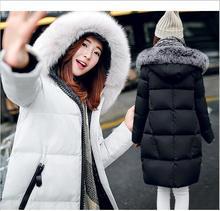2016 новых осенью и зимой длинный пуховик лисий мех воротника пуховик luxury женская мода толстый слой куртка