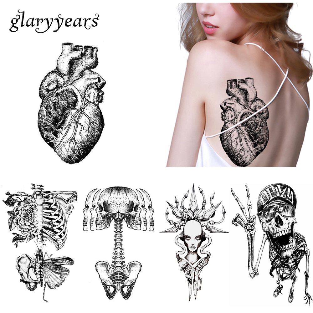 Us 1 13 20 Off Glaryyears 13 Designs 1 Sheet Fake Sketch Waterproof Tattoo Km 031 Heart Skull Decal Temporary Tattoo Sticker For Women Men Body In