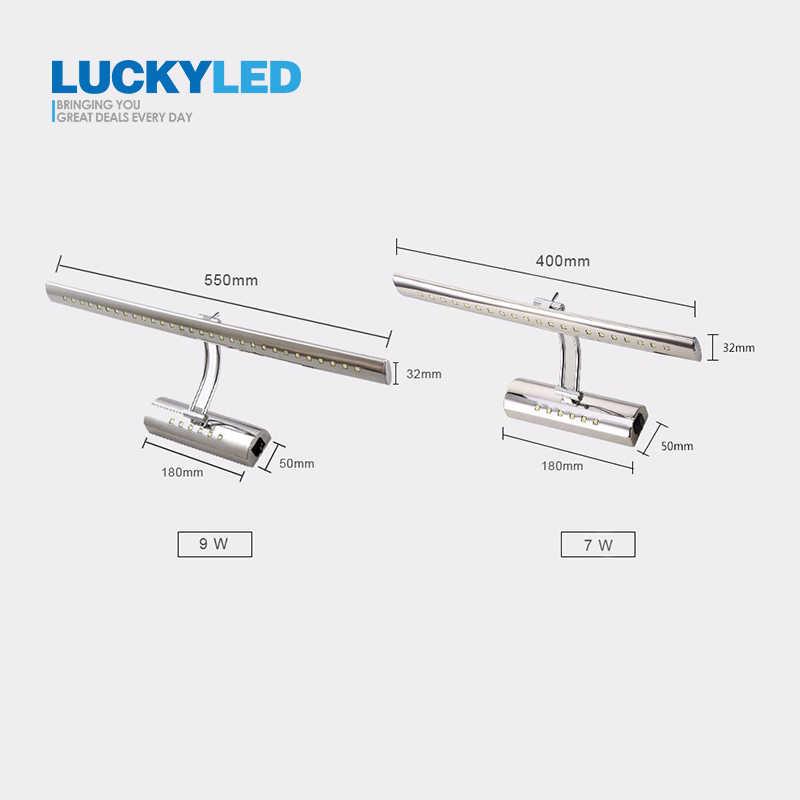 LUCKY светодиодный Светодиодный зеркальный светильник с выключателем 7 Вт, 9 Вт, 220 В, 110 В, настенный светильник, современный светильник для ванной комнаты, водонепроницаемый, из нержавеющей стали