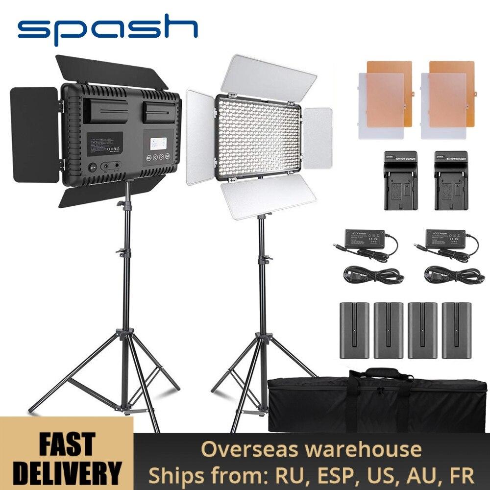 Spash TL-600S 2 Conjuntos de Estúdio Luz LED Luz de Vídeo para o Youtube Atirar 600 Contas 25 W CRI90 Foto Lâmpada com 200 centímetros Tripé Bateria