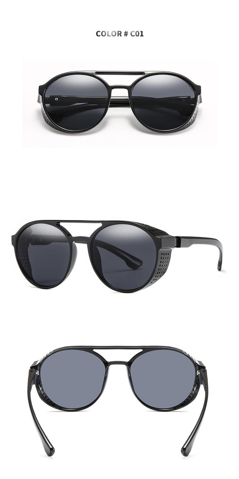Men's sunglasses plastic + metal round frame glasses UV400 fashion ladies sunglasses classic brand driving night vision goggles (4)