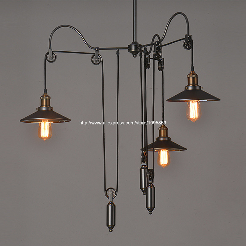 pulley lighting. aliexpresscom buy vintage industrial 3 arms pulley lifting mirror glass ceiling fixtures lighting barcoffee shop pendant lights lamps from reliable