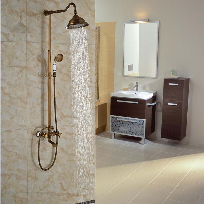 Rainfall Shower Head Bathroom Shower Mixer Faucet Single Handle Antique Brass