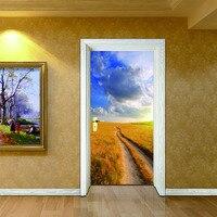 Newest 70 200cm 2 Pcs Set 3D Autumn Grassland Door Sticker Wallpaper Wall Stickers DIY Door