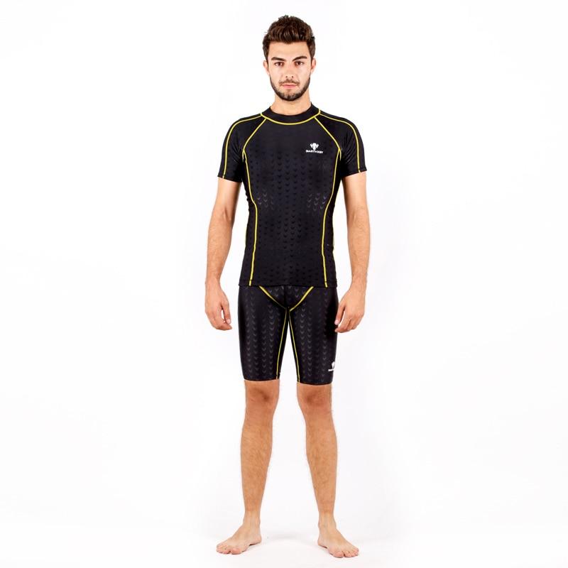 Women Professional Short Sleeve Swimsuit Sports Racing Competition Knee Bathing Suit Men Swim Top Shirts Shorts Pants Plus Size