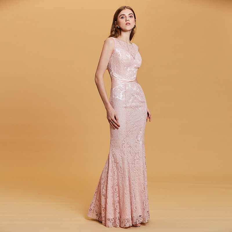 Tanpell lace scoop evening dress pearl pink sleeveless floor length mermaid  gown cheap women party formal 30c6054c5b81
