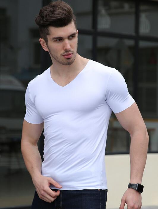 Man's brand clothing Solid color seamless underwear bodysuit close-fitting super strench ice silk men undershirt sheer shirt
