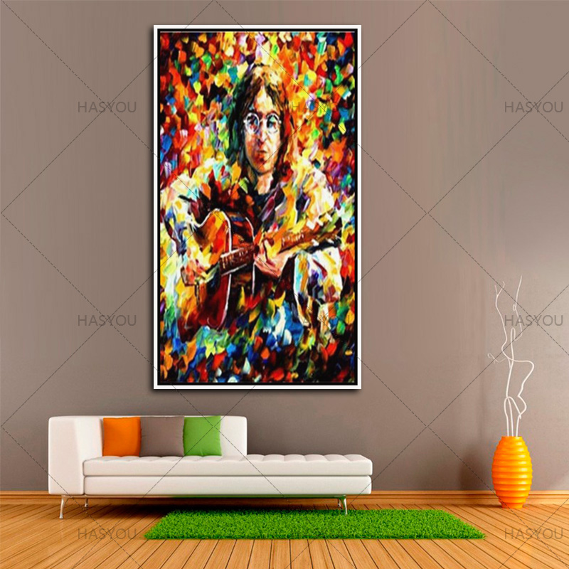 Handamde Modern portrait painting On Canvas colorful abstract Famous singer playing guitar Oil Painting For bar home Decor