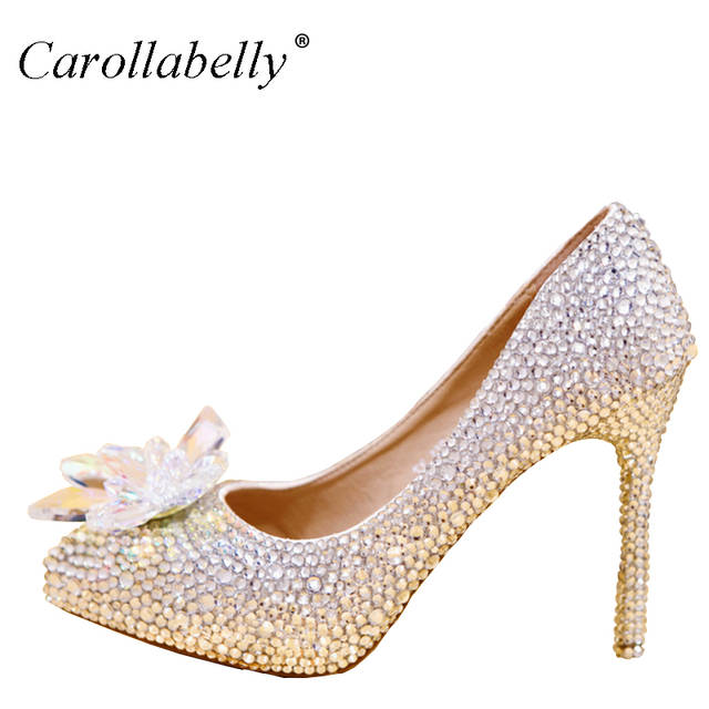 2018 New Rhinestone High Heels Cinderella Shoes Women Pumps Pointed toe Woman  Crystal Wedding Shoes high. placeholder ... f57a2bc9791b