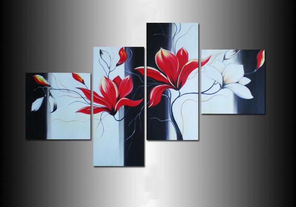 White black red flower painting canvas oil painting flower for Art et decoration revue