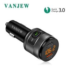 VANJEW C57 Быстрая зарядка 3,0 Автомобиль Bluetooth fm-передатчик двойной Порты usb автомобиля Зарядное устройство fm-модулятор MP3 плеер автомобильного прикуривателя Handfree