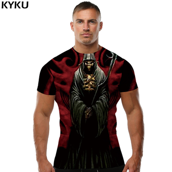 KYKU Brand Skull T-shirt Grim Reaper Shirt 3d Print T Shirt Blood Tshirt Streetwear Funny T Shirts 2018 Summer Clothing New let s summon demons men s satan raglan long sleeve t shirt demon death scary evil grim reaper funny man tee shirt streetwear