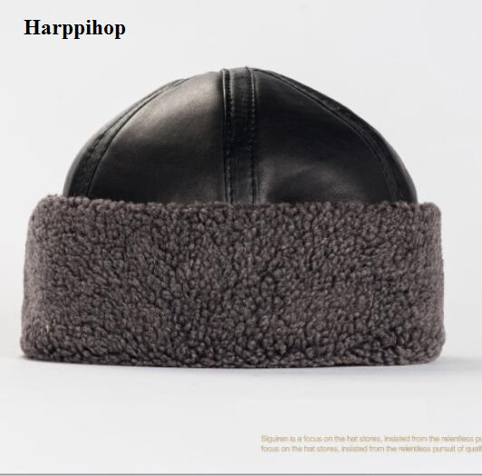 High quality women mother parents New style genuine leather men s army cap warm winter anturm
