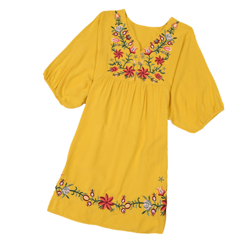 Women's New Fashion Vintage 70s V-neck Mexican Ethnic Embroidered Pessant Hippie Blouse Gypsy Boho Mini Dress(One Size)