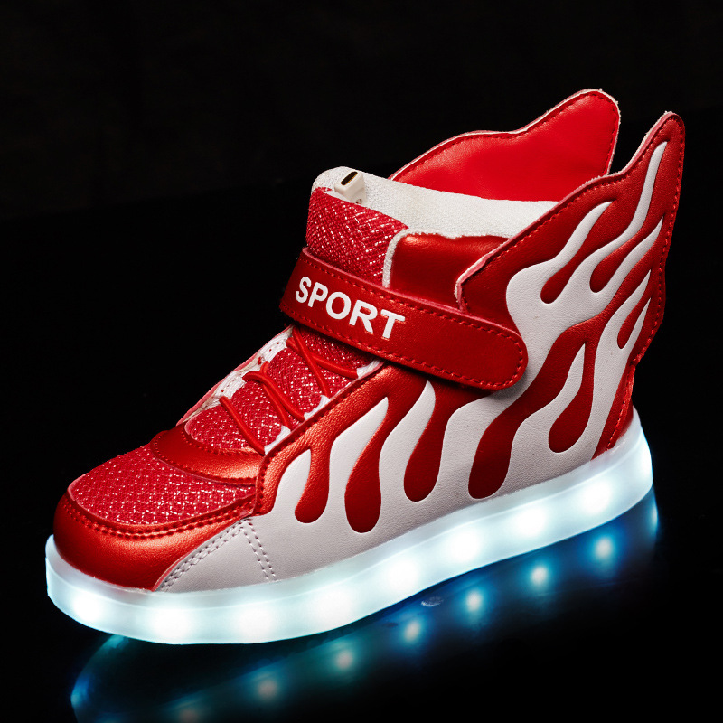 2016 new cute children shoes LED light shoes kids sneaker shoes light wings USB colorful luminous shoes wholesale 25 40 size usb charging basket led children shoes with light up kids casual boys