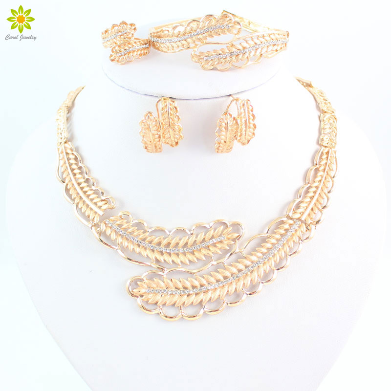 Latest Design Rhinestone Necklace Set Top Quality Gold Color ...