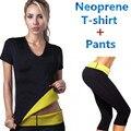 (T-shirt + Calças) Hot Shapers Do Corpo T-shirt Conjuntos de Mulheres Neoprene Emagrecimento Shaper Controle Calcinhas Tops Trecho