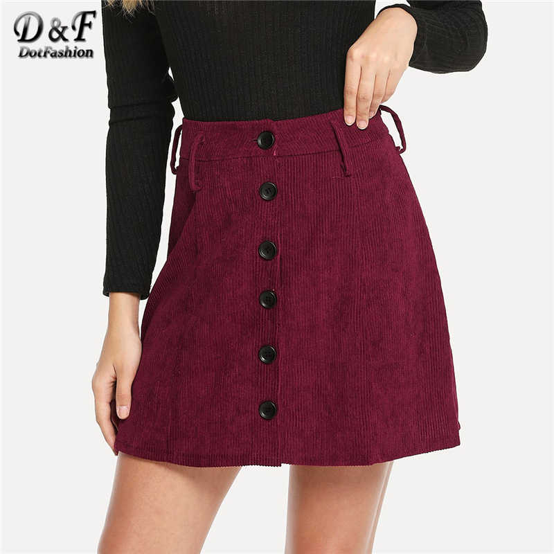 ce6066fafe15 Dotfashion Burgundy Single Breasted Corduroy Skirt Womens Clothing 2019  Fashion Casual Summer Autumn A Line Mid