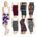 2017 de primavera y verano vintage moda impreso lápiz falda de midi de las mujeres de la rodilla-longitud elástica de cintura alta de las señoras faldas patrón