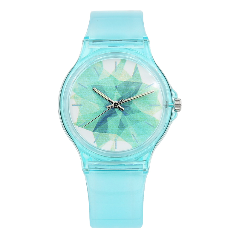 New Fashion Luxury Simple Mini Women Girls Vannbestandig Watch Vanntett Blå Transparent Candy Gelé For Barn Watch