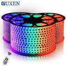 Guxen SMD5050 RGB Открытый 110 В/220 В IP65 Водонепроницаемый Светодиодные ленты 10 м-50 м 60 светодио дный s/m + Питание + ИК-пульт дистанционного Управление