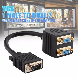 Image 4 - Gold Plated VGA 1 Male to Dual 2 VGA Female Converter Adapter Splitter Y Cable 0.25m
