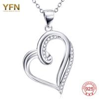 YFN 925 스털링 실버 보석 심장 모양의 CZ 목걸이 펜던트 크리스탈 여성 목걸이 세 10% 할인 GNX9937