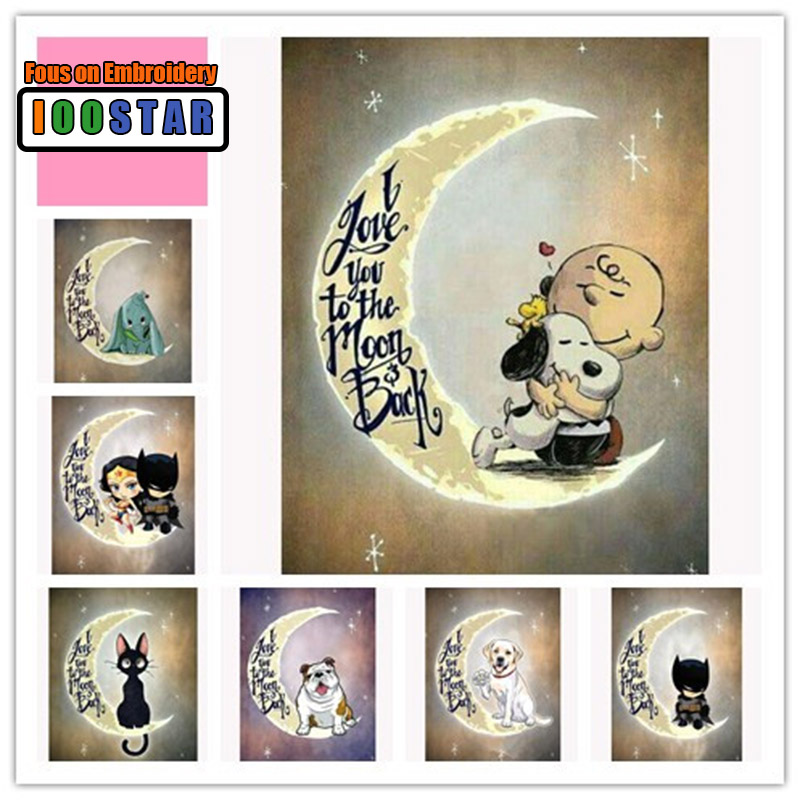 5D DIY Diamond Painting Love You Back To The Moon Full Square/Round Diamond Embroidery Mosaic Cross Stitch Home Decor Gift
